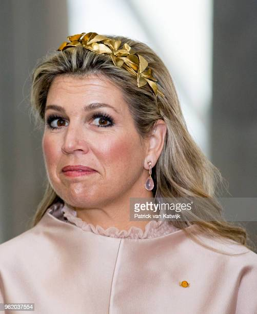 Queen Maxima of The Netherlands visit the Luxemburg University and Campus Belval where they get an tour at the melting furnace on May 24 2018 in...