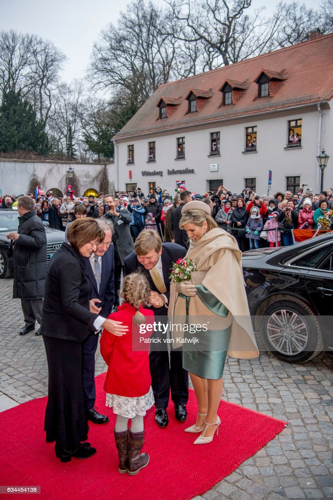 Queen Maxima of The Netherlands visit the slotkirche where Martin Luther is buried during their 4 day visit to Germany on February 09, 2017 in Wittenberg, Germany.