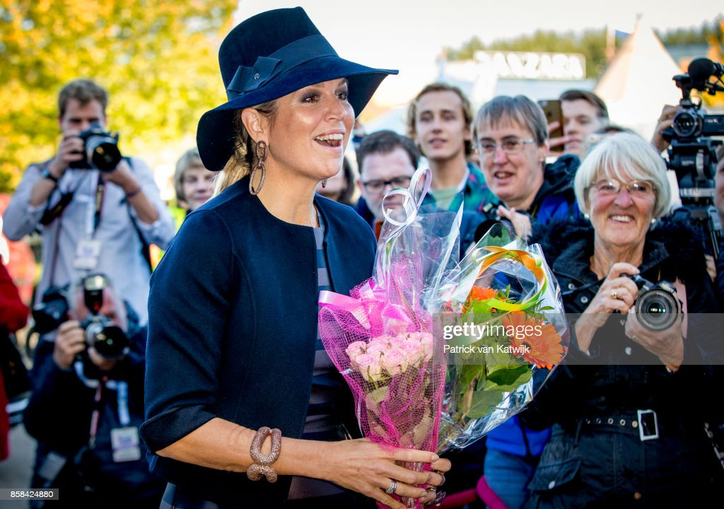 Queen Maxima of The Netherlands visits 5th Teacher's Congress the on October 5, 2017 in Amersfoort, Netherlands. The conference, organized by the Education Cooperative, takes place at ROC Middenland.