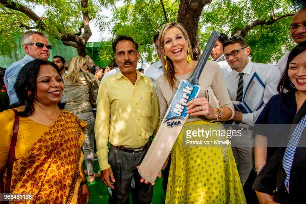 Queen Maxima of The Netherlands visits a Cricket Ball production who got a loan from Aye Finance during a 3 day official visit to India on May 29...