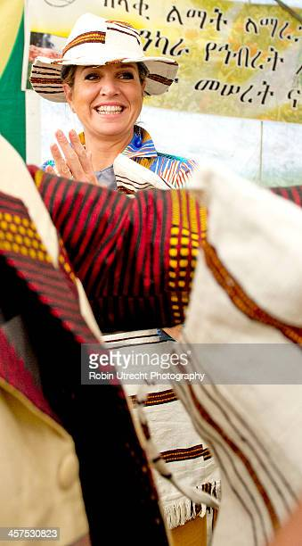 Queen Maxima of the Netherlands visits a Farmers Cooperative Union market and meeting during her 5 day visit to Ethiopia and Tanzania in her role as...