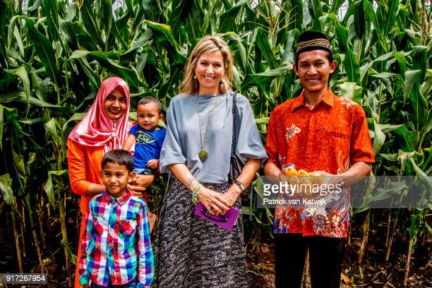 Queen Maxima of The Netherlands visits corn farmers on February 12 2018 in Bandar Lampung Indonesia Queen Maxima is visiting Indonesia as the United...
