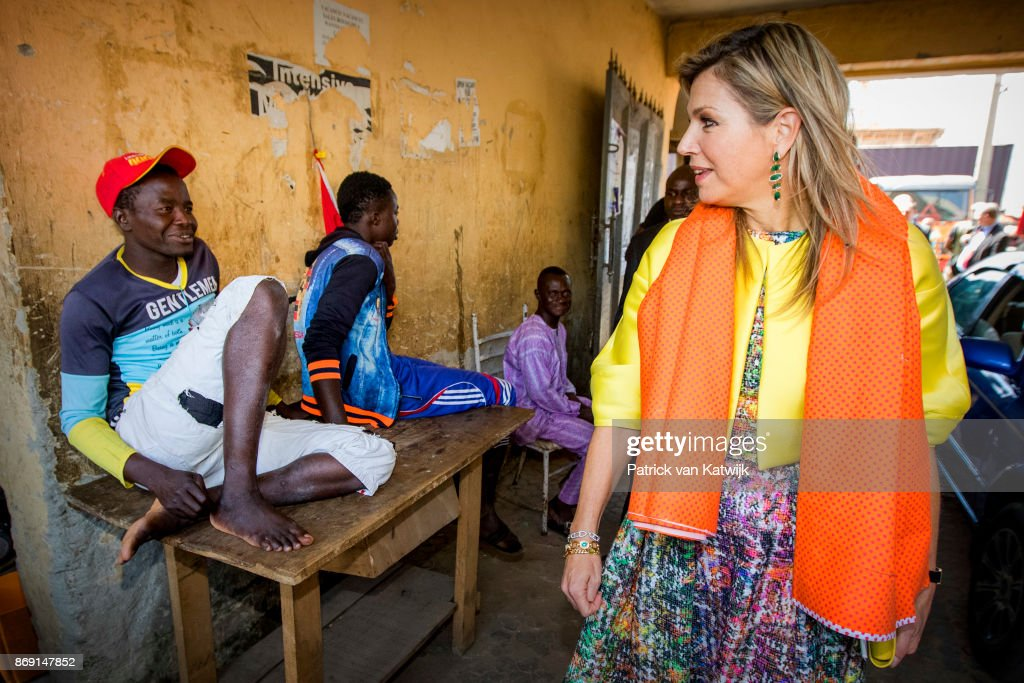 Queen Maxima of The Netherlands visits Diamond Yellow bank agencies of the Diamond Bank of Nigeria on November 1, 2017 in Abuja, Nigeria.