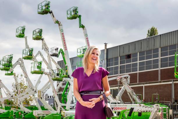 NLD: Queen Maxima Of The Netherlands Visits Doornbos Equipment In Rotterdam