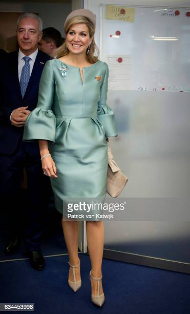 Queen Maxima of The Netherlands visits European Energy Exchange during their 4 day visit to Germany on February 09 2017 in Leipzig Germany