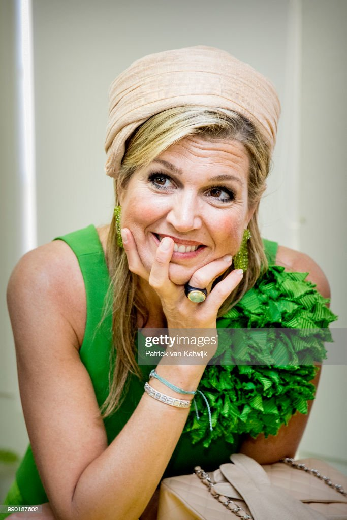 Queen Maxima of The Netherlands visits Excel Arts Academy during the Dia di Bandera celebrations on July 2, 2018 in Willemstad, Curacao. Excel Arts Academy won the Appeltje van Oranje Award from the Oranje Foundation.