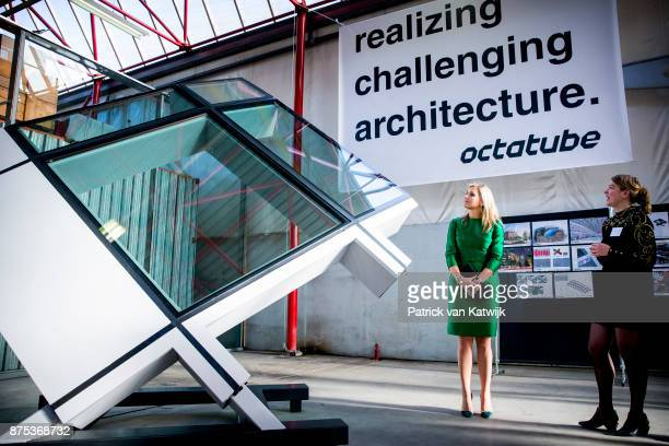 Queen Maxima of The Netherlands visits family company Octatube on the day of the entrepreneur on November 17 2017 in Delft Netherlands Octatube is...