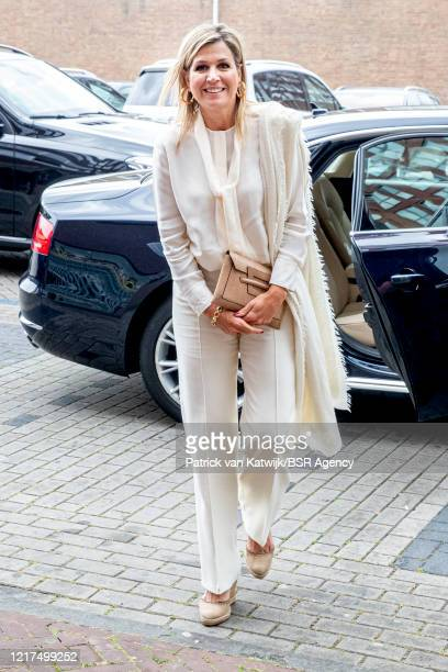 Queen Maxima of The Netherlands visits Jumbo supermarket to speak with employees about their work during the coronavirus crisis on June 04, 2020 in...