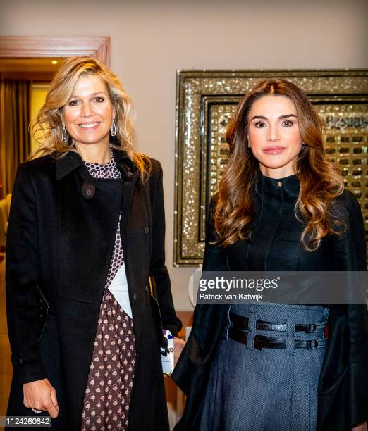 Queen Maxima of The Netherlands visits King Abdullah of Jordan and Queen Rania of Jordan at the Royal Palace on February 12 2019 in Amman Jordan