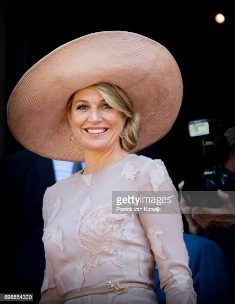 Queen Maxima of The Netherlands visits mayor Virginia Raggi at Campidoglio during the first day of a royal state visit to Italy at on June 20, 2017...