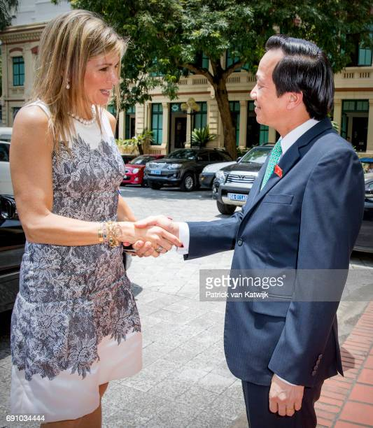 Queen Maxima of The Netherlands visits Minister Dao Ngoc Dung of labor less valid and social affairs on June 1 2017 in Hanoi Vietnam