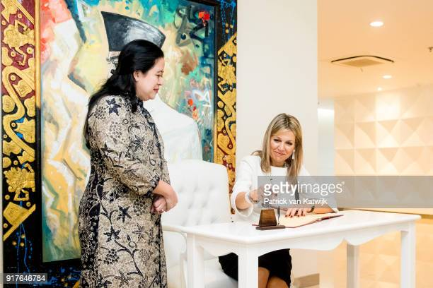 Queen Maxima of The Netherlands visits minister of Human Development Puan Maharani on February 13 2018 in Jakarta Indonesia Queen Maxima visits...