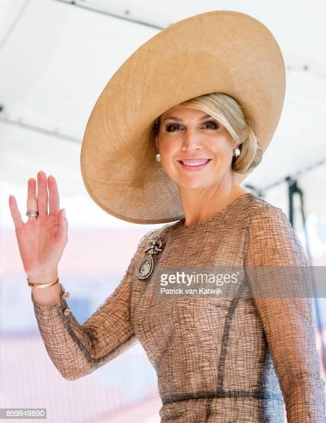 Queen Maxima of The Netherlands visits President Marcelo Rebelo de Sousa of Portugal at Palacio de Belem on October 10, 2017 in Lisboa CDP, Portugal.
