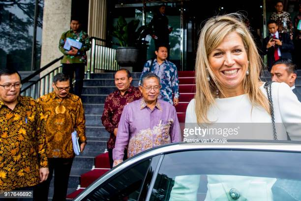 Queen Maxima of The Netherlands visits President Widido on February 13 2018 in Jakarta Indonesia Queen Maxima visits Indonesia as United Nation...