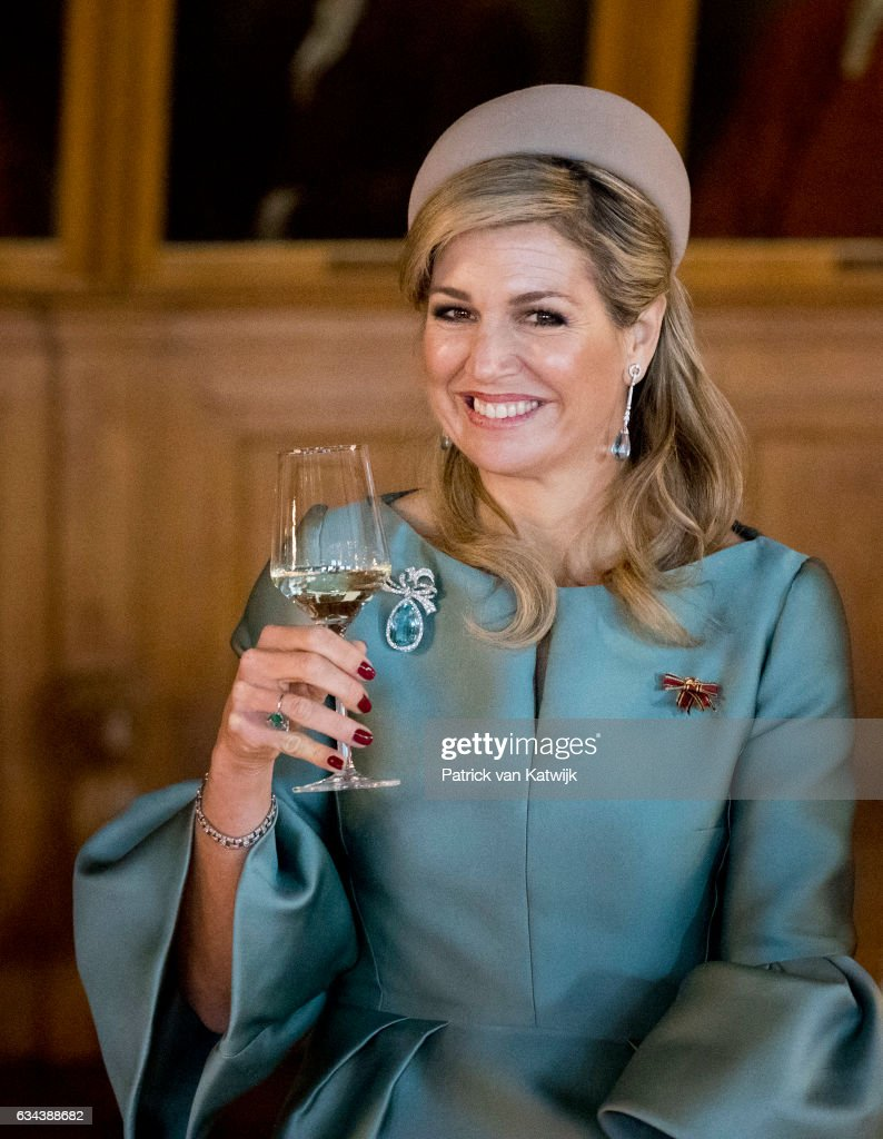 Queen Maxima of The Netherlands visits Prime Minister Tillich in the Altes Rathuis during their 4 day visit to Germany on February 09, 2017 in Leipzig, Germany.