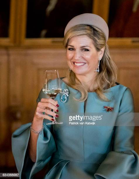 Queen Maxima of The Netherlands visits Prime Minister Tillich in the Altes Rathuis during their 4 day visit to Germany on February 09 2017 in Leipzig...