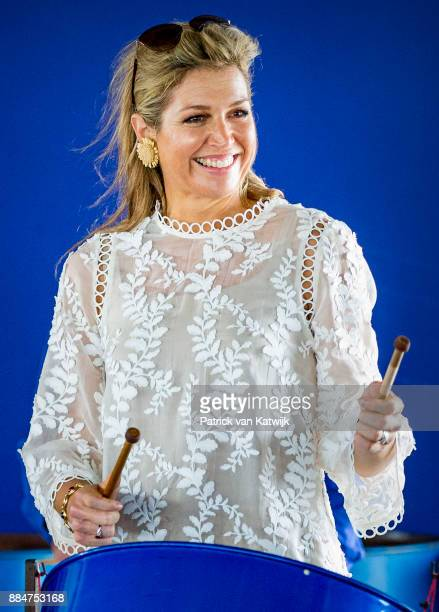 Queen Maxima of The Netherlands visits reconstruction projects and damaged areas in Sint Maarten after the destruction of hurricane Irma on December...