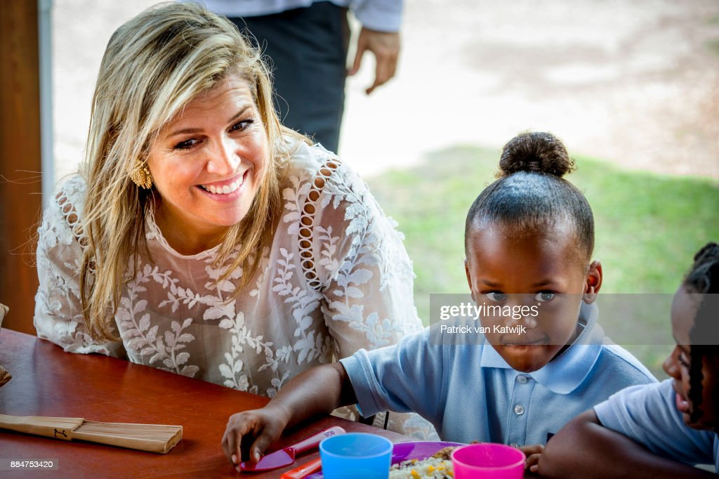 Queen Maxima of The Netherlands visits reconstruction projects and damaged areas in Sint Maarten after the destruction of hurricane Irma on December 02, 2017 in Philipsburg, Sint Maarten.