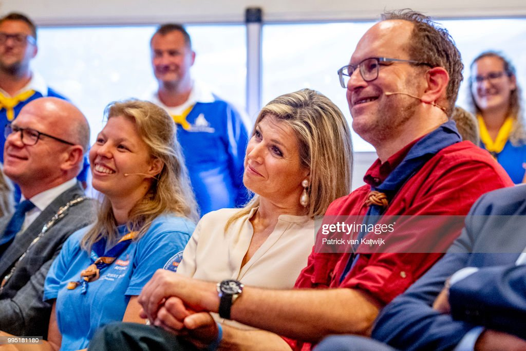 Queen Maxima of The Netherlands visits scouting group Hubertus Brandaan for the start of the international scouting event Roverway in Voorburg on July 10, 2018 in Voorburg, Netherlands.