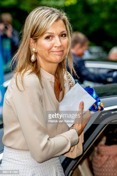 Queen Maxima of The Netherlands visits scouting group Hubertus Brandaan for the start of the international scouting event Roverway in Voorburg on...