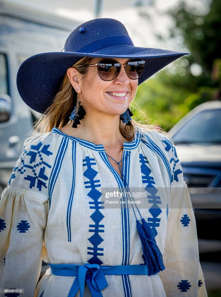 Queen Maxima of The Netherlands visits Solar Park and the reconstruction of houses on November 30, 2017 in Oranjestad, Sint Eustatius. The King and Queen visit Sint Eustatius after Hurricane Irma damaged the island.