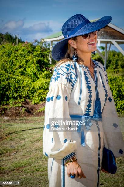 Queen Maxima of The Netherlands visits Solar Park and the reconstruction of houses on November 30, 2017 in Oranjestad, Sint Eustatius. The King and...