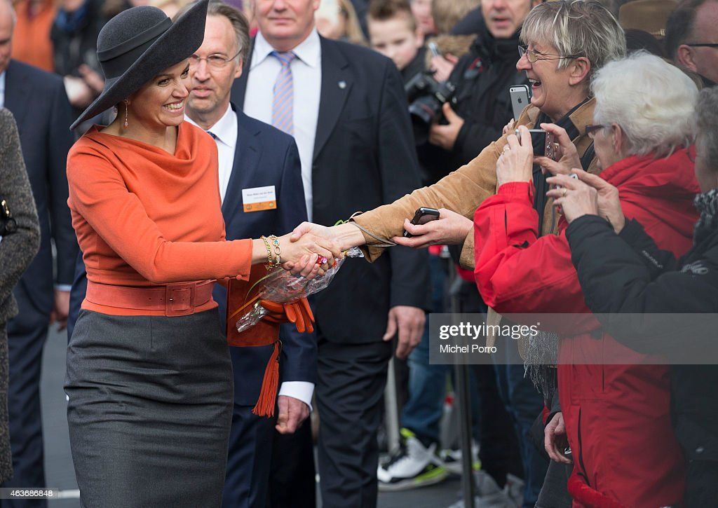 Queen Maxima of The Netherlands visits Stenden College on February 17, 2015 in Emmen, The Netherlands. The royal couple paid a visit to the north east of the country