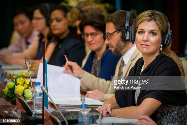 Queen Maxima of The Netherlands visits the Bank of Vietnam for an meeting about the national strategy for Inclusive Finance on June 01 2017 in Hanoi...