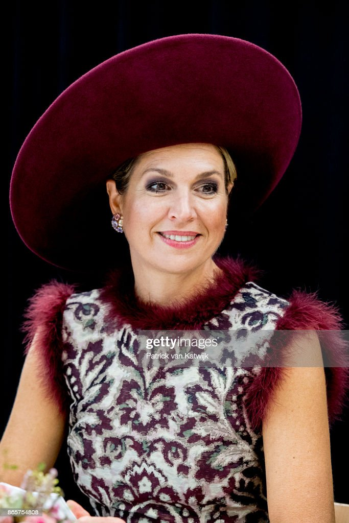 Queen Maxima of The Netherlands visits the city of Amersfoort during their region visit to Eemnland on October 24, 2017 in Amersfoort, Netherlands. In Amersfoort the royal couple visit the Koppelpoort and Eemhuis