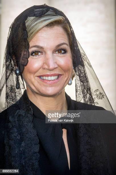 Queen Maxima of The Netherlands visits the Dutch Friezenkerk at Vatican city on June 22 2017 in Vatican City Vatican