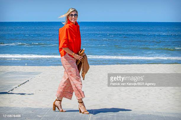Queen Maxima of The Netherlands visits the Dutch Island Texel to learn about the effect of the coronavirus pandemic on tourism on May 28, 2020 in...