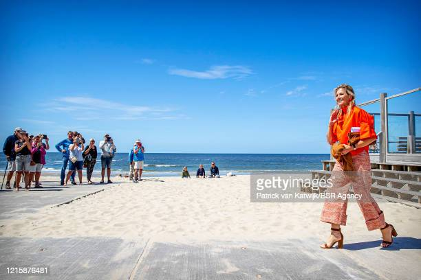Queen Maxima of The Netherlands visits the Dutch Island Texel to learn about the effect of the coronavirus pandemic on tourism on May 28 2020 in...