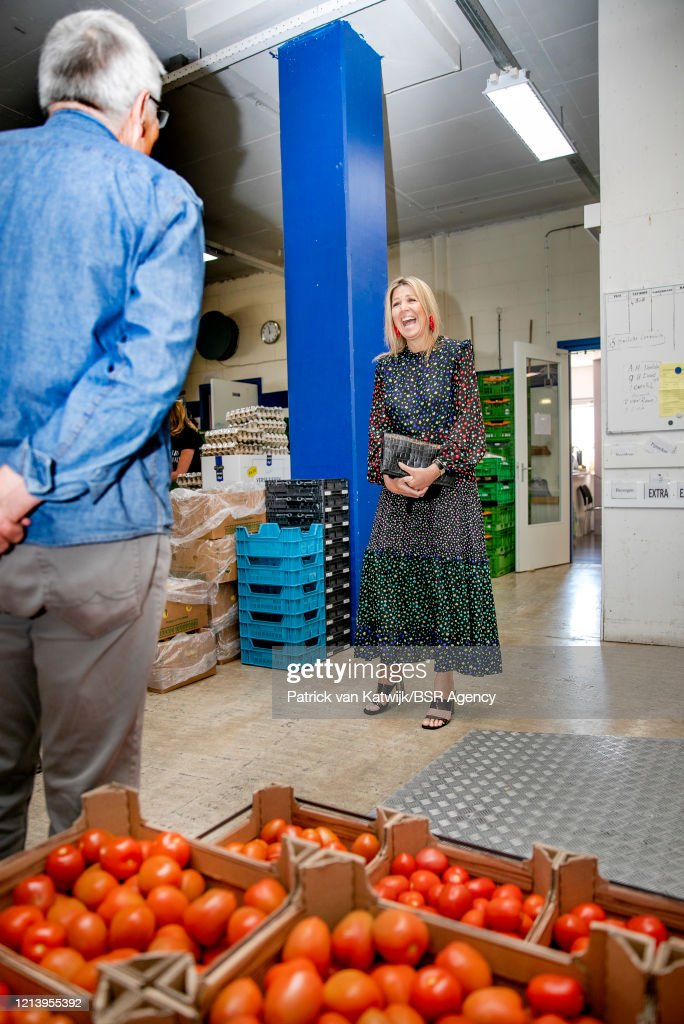 Queen Maxima Of The Netherlands Visits  Food Bank In Delft : News Photo
