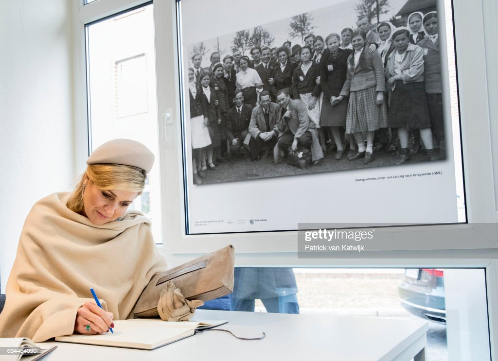 Queen Maxima of The Netherlands visits the information center about forced labour during their 4 day visit to Germany on February 09, 2017 in Wittenberg, Germany.