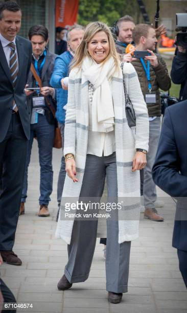 Queen Maxima of The Netherlands visits the King's Games youth sport day at De Vijfmaster school on April 21 2017 in Veghel Netherlands
