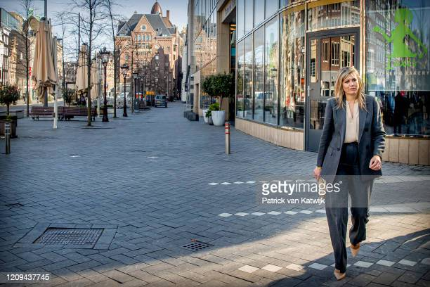 Queen Maxima of The Netherlands visits the local food and hotel industry on April 08, 2020 in Amsterdam, Netherlands. During her visit to Hotel Nes...