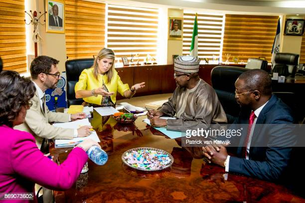 Queen Maxima of The Netherlands visits the local UN office local and national banks on November 1 2017 in Abuja Nigeria