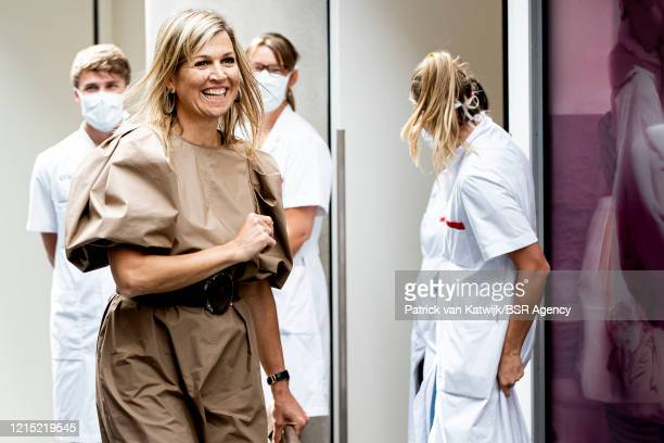 Queen Maxima of The Netherlands visits the OLVG Hospital to get informed about digital care on May 26 2020 in Amsterdam Netherlands