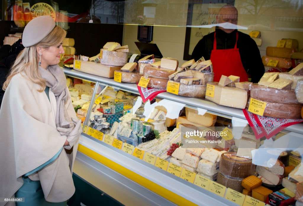 Queen Maxima of The Netherlands visits the Plattenbau neighborhood Grunau during their 4 day visit to Germany on February 09, 2017 in Leipzig, Germany.
