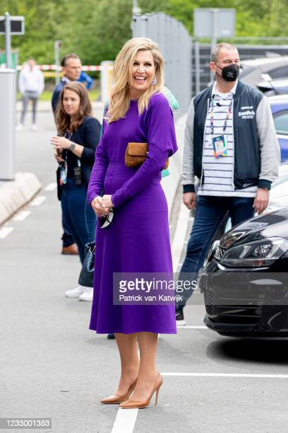 Queen Maxima of The Netherlands visits the rehearsal of the second semi final of the Eurovision Song Contest at Rotterdam Ahoy on May 20, 2021 in...