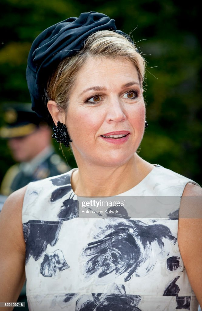 Queen Maxima of The Netherlands visits the Smart Solutions Expo and the panel session 'Lets go Global Health' at the World of Health Care congress in the Fokker Terminalon September 28, 2017 in The Hague, Netherlands. Theme of the congress is to improve world health by connecting international care issues to Dutch solutions.