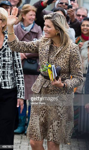 Queen Maxima of The Netherlands visits the social employment agency Breed on October 7, 2014 in Nijmegen The Netherlands.