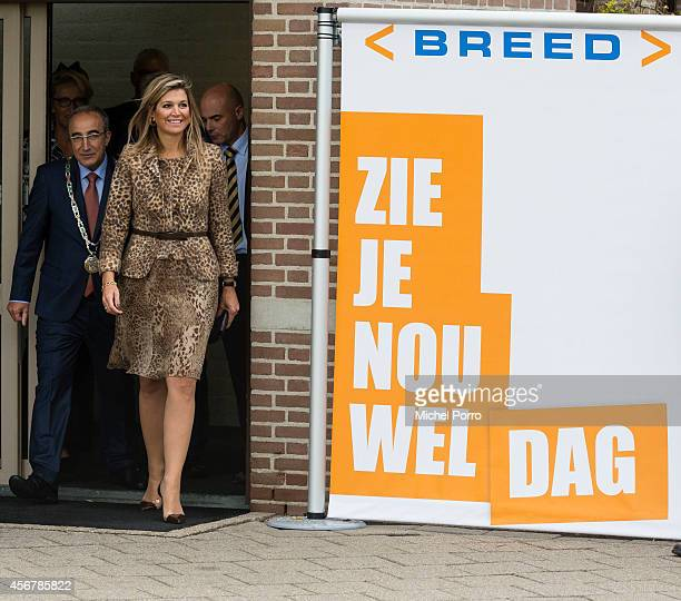 Queen Maxima of The Netherlands visits the social employment agency Breed on October 7 2014 in Nijmegen The Netherlands