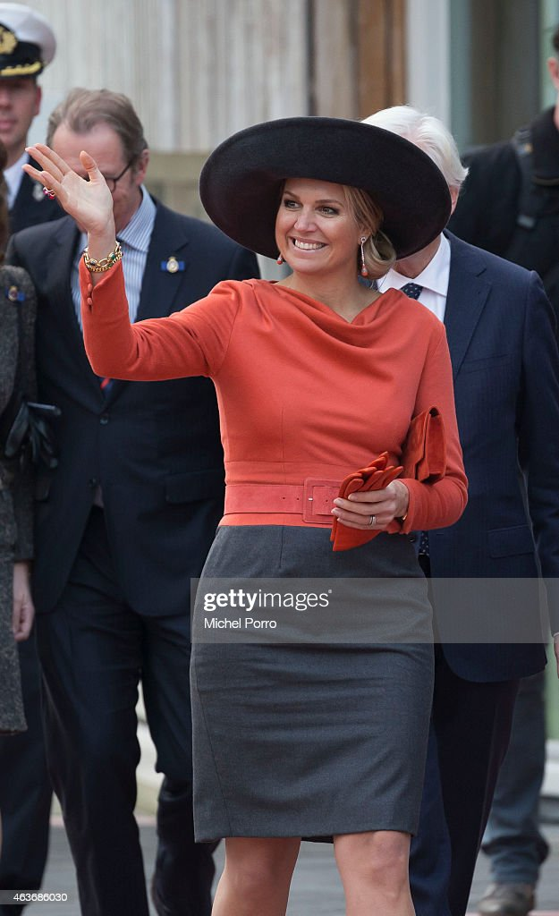 Queen Maxima of The Netherlands visits the Stenden College on February 17, 2015 in Emmen, The Netherlands. The royal couple paid a visit to the north east of the country