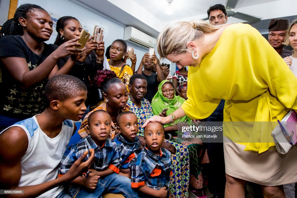 Queen Maxima of The Netherlands visits the Subol Hospital to get information about acces to insurances from platform PhamAcces on October 31, 2017 in Lagos, Nigeria. Queen Maxima of The Netherlands visits Nigeria as United Nation Secretary Generals Special Advocate for Inclusive Finance for Development
