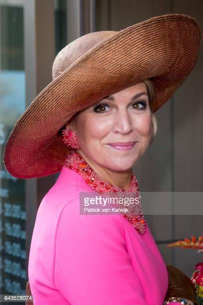 Queen Maxima of The Netherlands visits the town hall in Krimpen aan den IJssel on February 21 2017 in Gouderak Netherlands