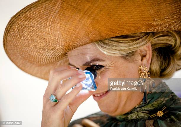 Queen Maxima of The Netherlands visits the University TU Berlin on July 7, 2021 in Berlin, Germany. Their Royal Highnesses are paying their first...