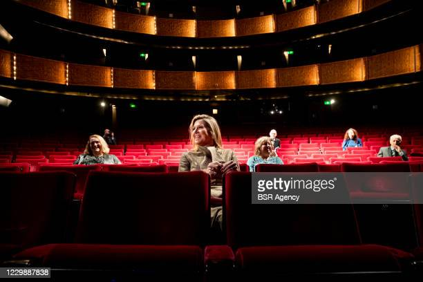 Queen Maxima of The Netherlands visits Theaters to get informed about the impact of the corona pandemic on the entrepreneurs of theaters and concert...