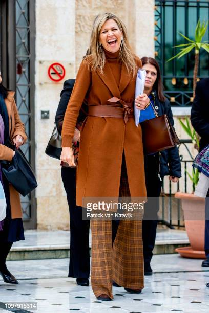 Queen Maxima of The Netherlands visits two female entrepreneurs in Al Hana Boutique and Ladies hairdresser who provide mobile financial services from...