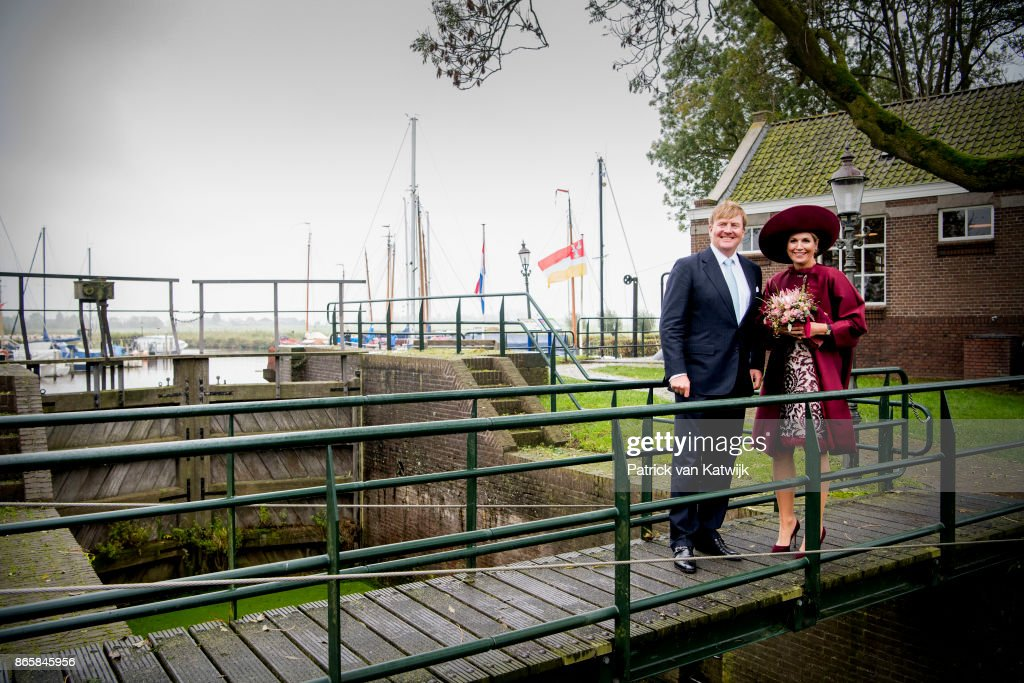 Queen Maxima of The Netherlands visits water pump system Gemaal Eemnes and sail with the ferry boat to Eemdijk during there region visit to Eemland on October 24, 2017 in Eemdijk, Netherlands.